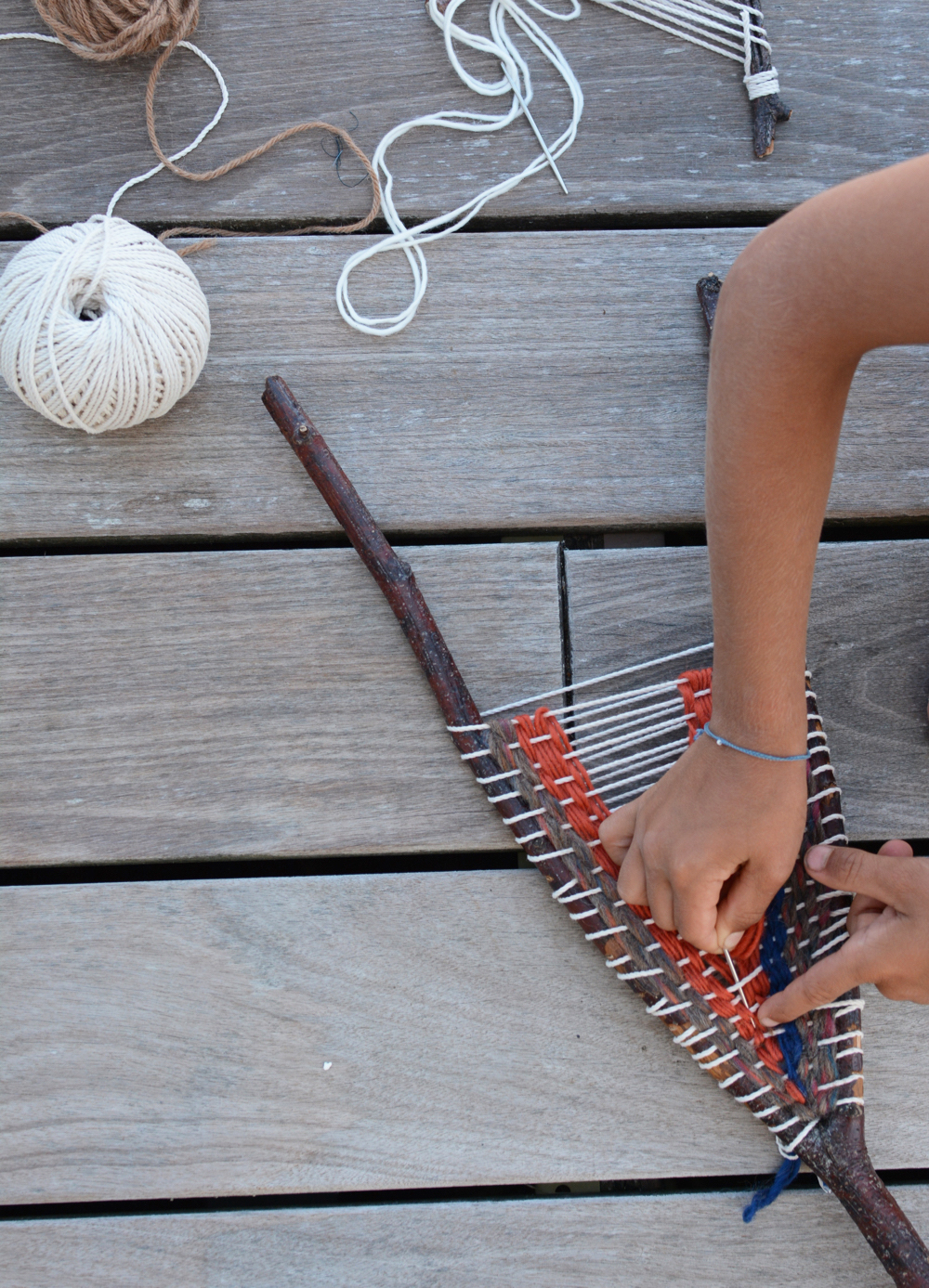 Stick Loom Weaving On A Grey Morning Somewhere Slower