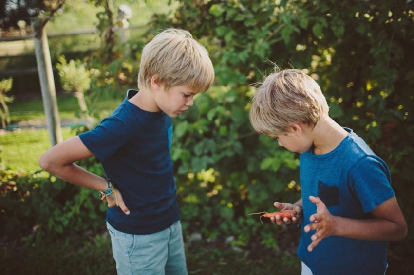 boys in garden