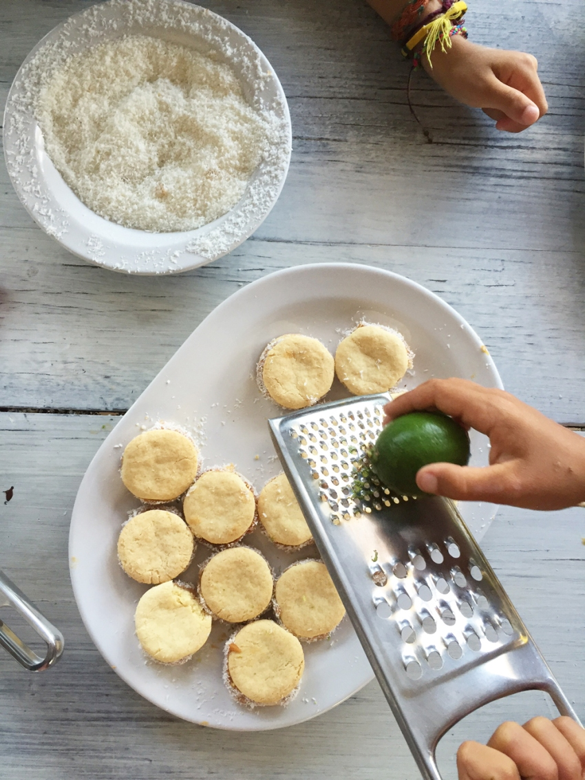 grating lime on alfajores