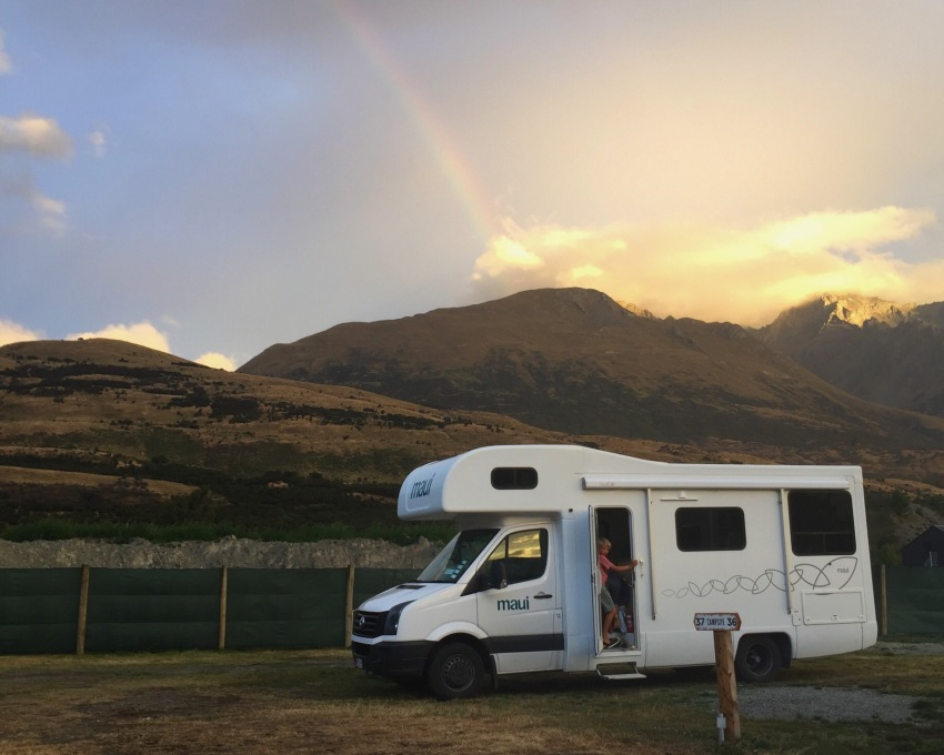 rainbow over camper van