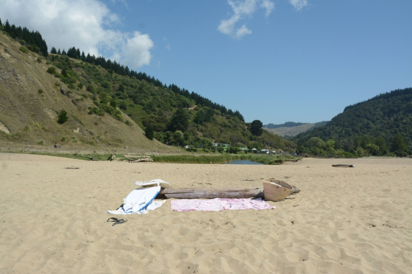 beach set-up at Waipatiki