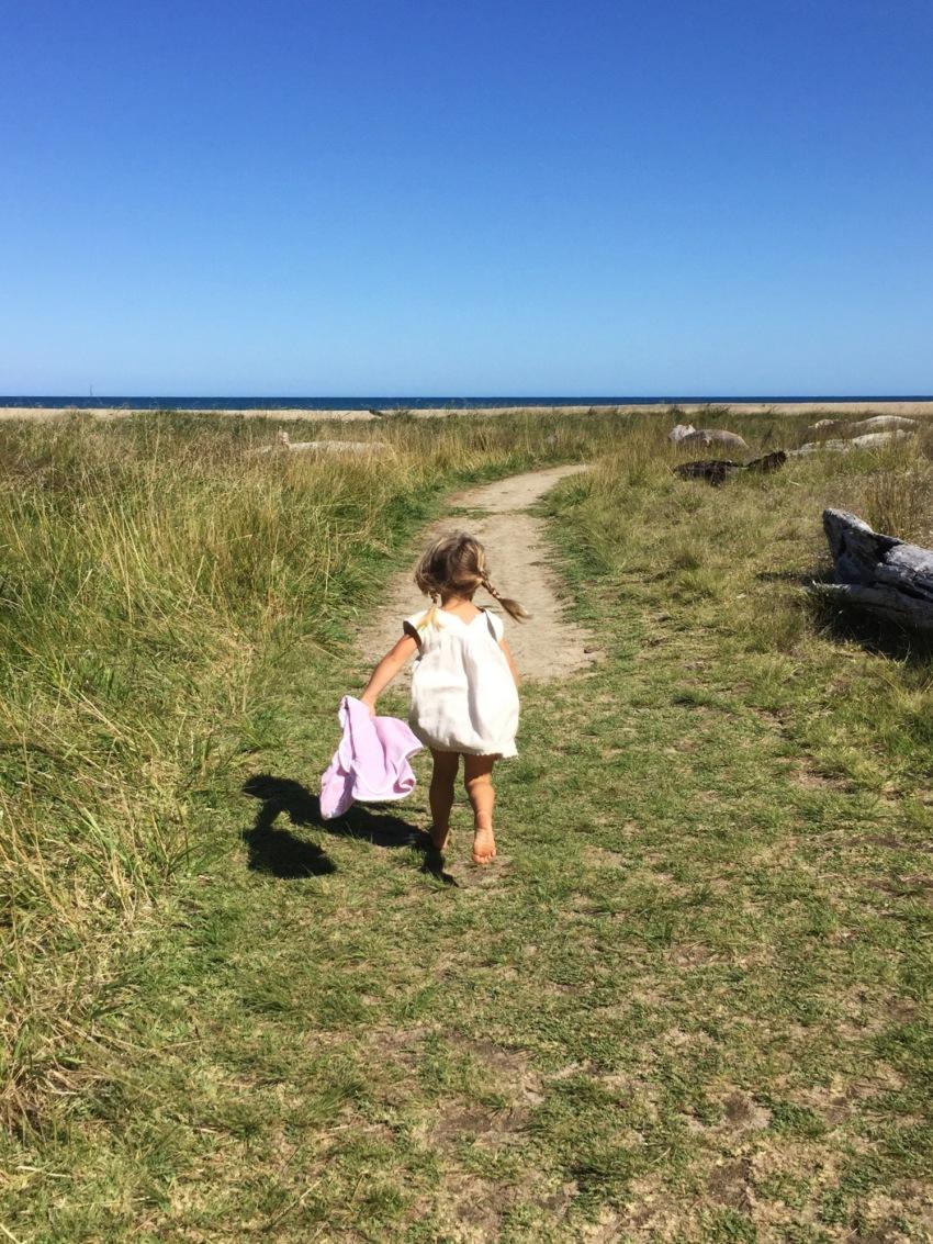 running to the beach at Waipatiki