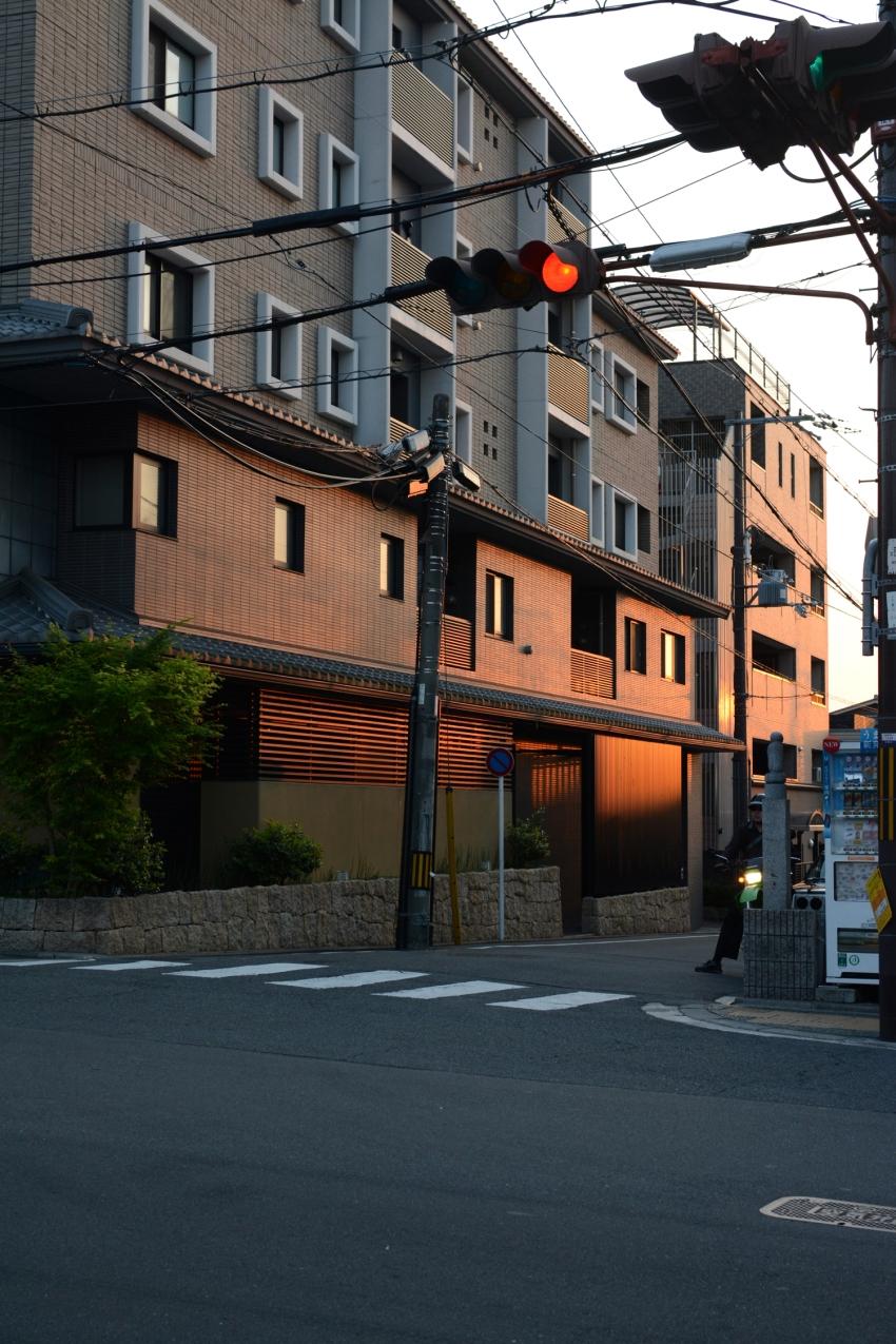 Kyoto sunset on street