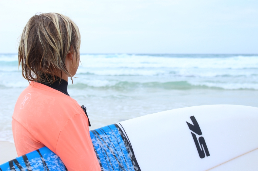 Easton and surf board